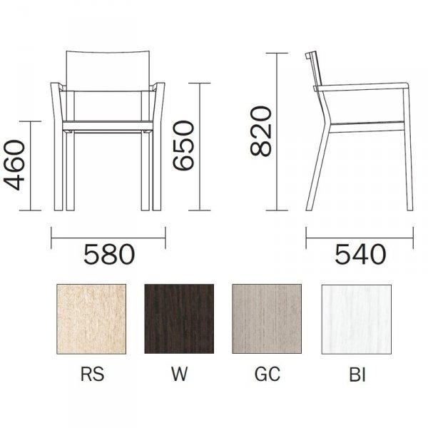 Dębowe krzesło w stylu skandynawskim do jadalni i kuchni Feel 450/2 Pedrali wymiary