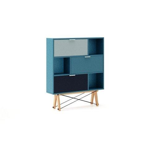Stylowa szafka na buty Minko Mix w odcieniach niebieskiego