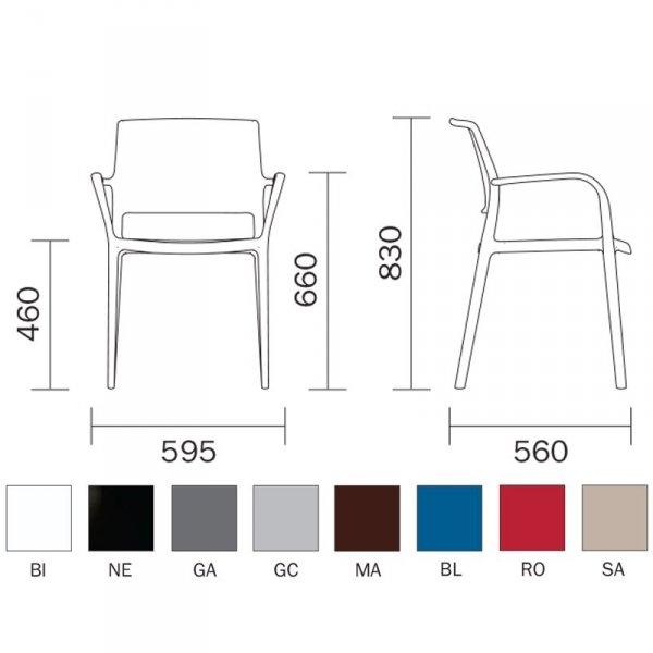 Krzesło Ara 315 wymiary i dostępne kolory