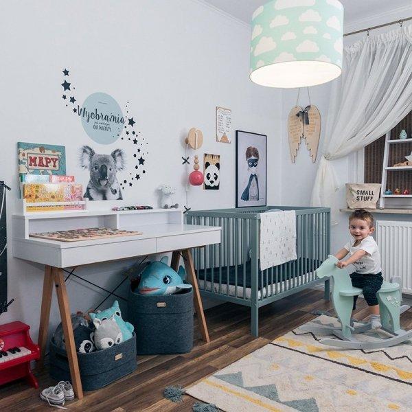 Stylowe skandynawskie biurko z nadstawką w kolorze białym Minko Basic +