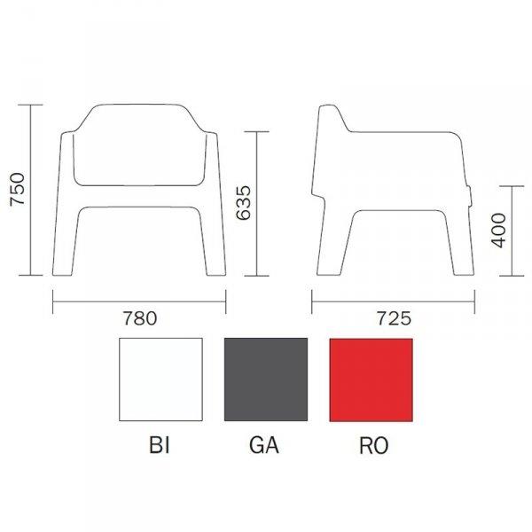 Pedrali Plus Air 631 fotel wymiary