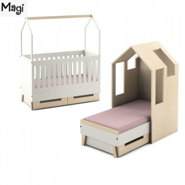 Dodatkowe elementy, takie jak domek, reling czy szuflady, pozwolą zmiieniać łóżeczko, dopasowując go do aktualnych potrzeb naszego dziecka.