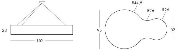 Lampa wisząca Nuvola 152x95x23 Slide