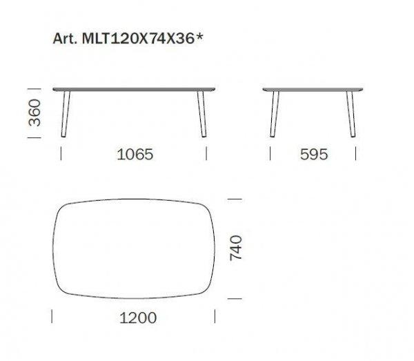 Malmo stolik kawowy 120 x 74 Pedrali