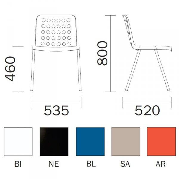 Krzesła Koi-Booki 370 Pedrali wymiary i dostępne kolory