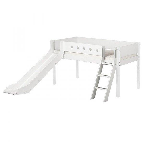 Łóżko dziecięce średniowysokie ze zjeżdzalnią i pochyłą drabinką Flexa White