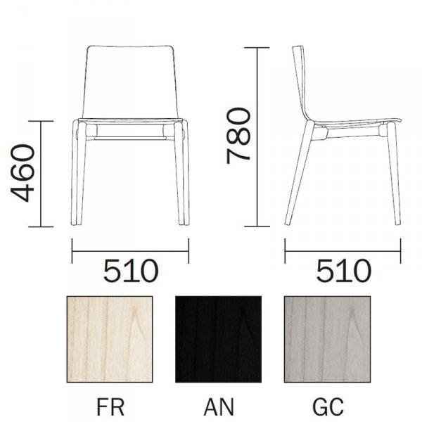 Krzesło Malmo 390 wymiary i dostępne kolory