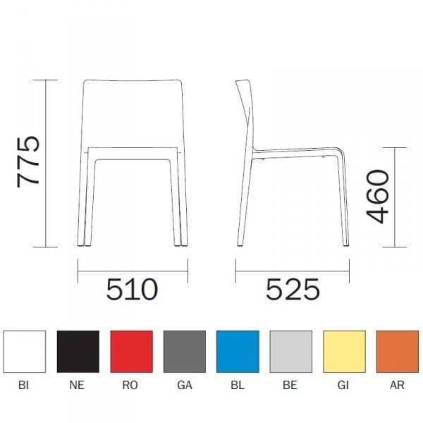 Krzesło Volt 670 Bezowe Pedrali wymiary