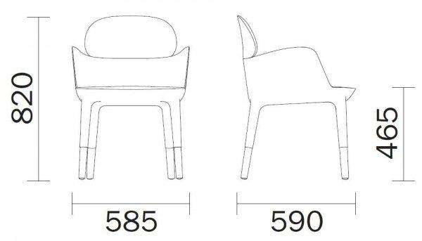 Ester 690 tapicerowany fotel Pedrali wymiary