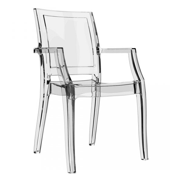 Nowoczesne krzesła z podłokietnikami Arthur marki Siesta w kolorach transparentnych wykonane są z poliwęglanu (materiał Bayer AG) lub z lśniącego technopolimeru nylonowego PA6.