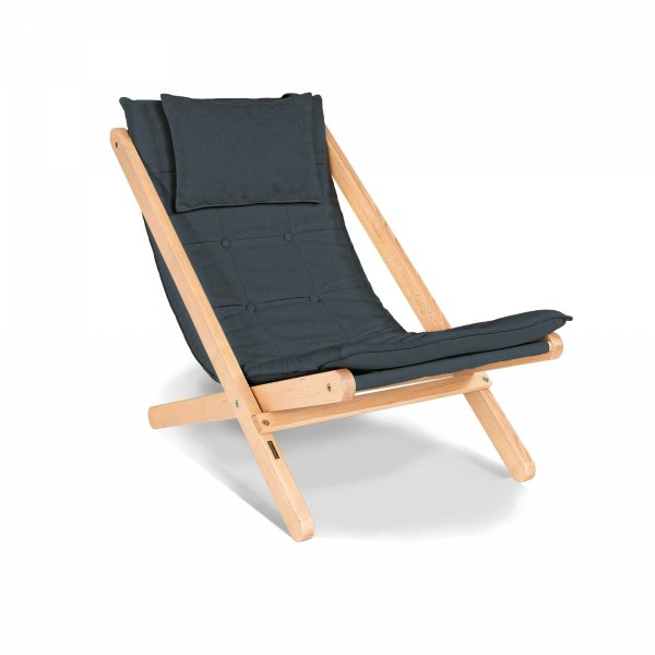 Allegro leżak z drewna naturalnego lakierowanego/grafitowa poduszka Woodman