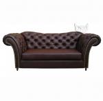 Pikowana sofa w skórze naturalnej Chesterfield Wave