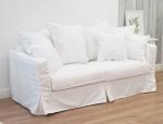 Biała sofa rozkładana zdejmowany pokrowiec Vivienne 200 cm