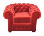Czerwony pikowany fotel Chesterfield Retro
