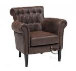 Pikowany, skórzany fotel w stylu retro Arleta