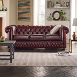 Windsor Slim pikowana sofa w skórze naturalnej 220 cm