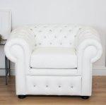 Biała skóra naturalna fotel Chesterfield Classic