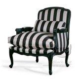 Fotel w czarno-białe pasy z drewna bukowego  Carmen