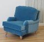 Fotel w pluszowej błękitnej tkaninie do salonu Marlene
