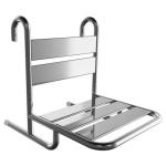 Duschsitz aus Edelstahl zum Einhängen mit Wandstützen für barrierefreies Bad