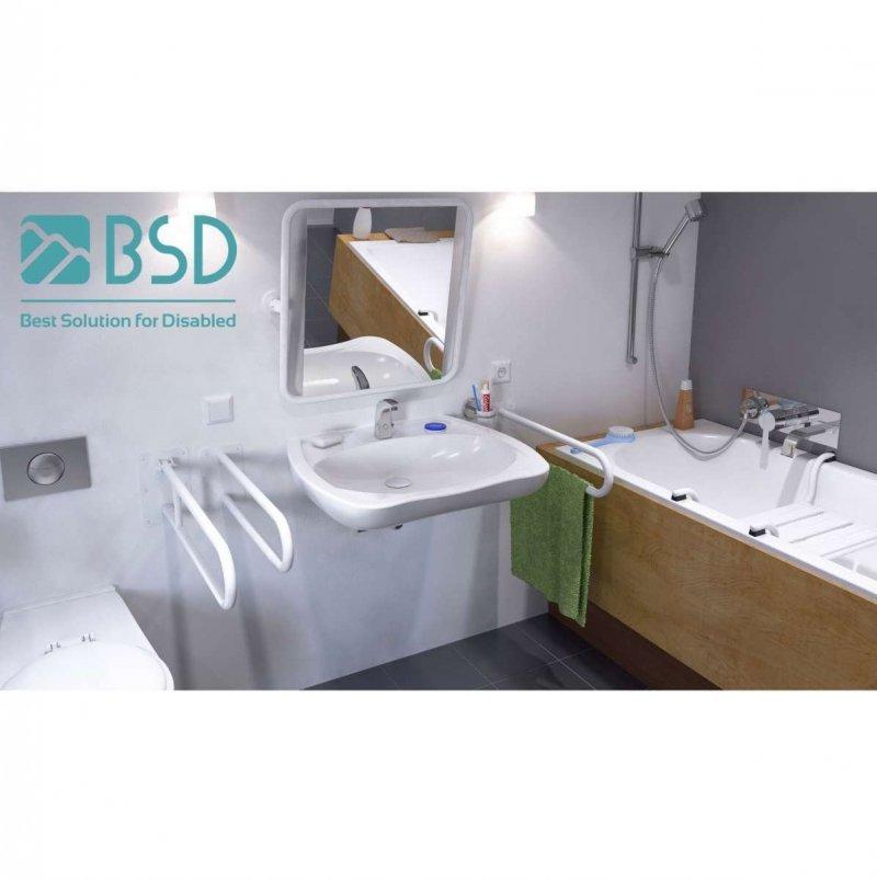 Stützgriff am WC für barrierefreies Bad weiß 80 cm ⌀ 25 mm
