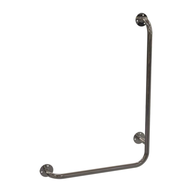 Winkelgriff für barrierefreies Bad 60/40 cm rechts montierbar aus rostfreiem Edelstahl ⌀ 25 mm