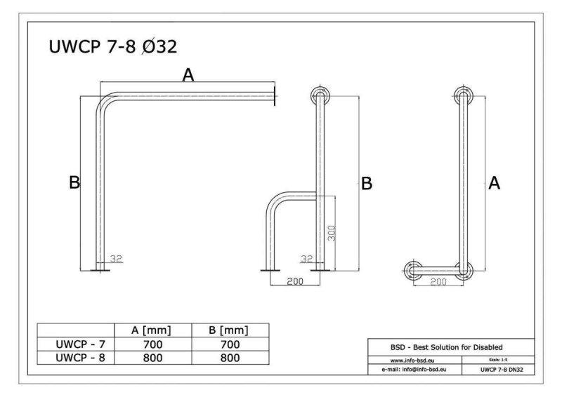 WC Stützgriff für barrierefreies Bad zur Wand-Boden-Montage rechts 80cm aus rostfreiem Edelstahl ⌀ 32 mit Abdeckrosetten mit Abdeckrosetten