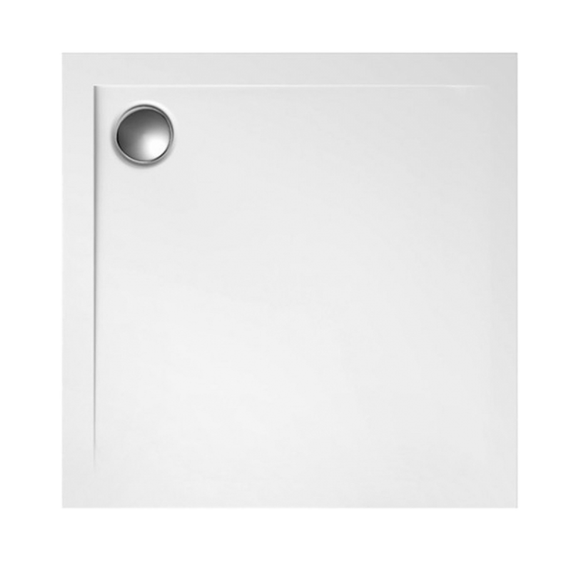 Duschwanne mit Abfluss in der Ecke für barrierefreies Bad 80 x 80 cm
