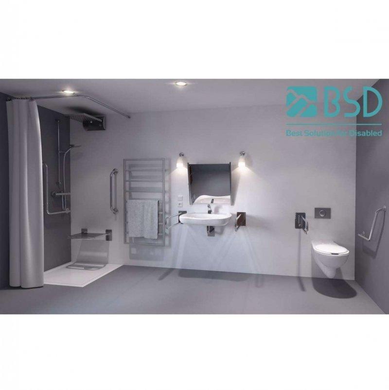 WC Stützgriff für barrierefreies Bad links montierbar 80 cm aus rostfreiem Edelstahl ⌀ 25 mm