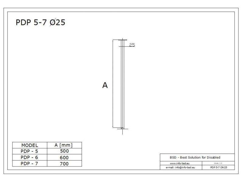 Deckenbefestigung für Duschvorhangstange 70 cm