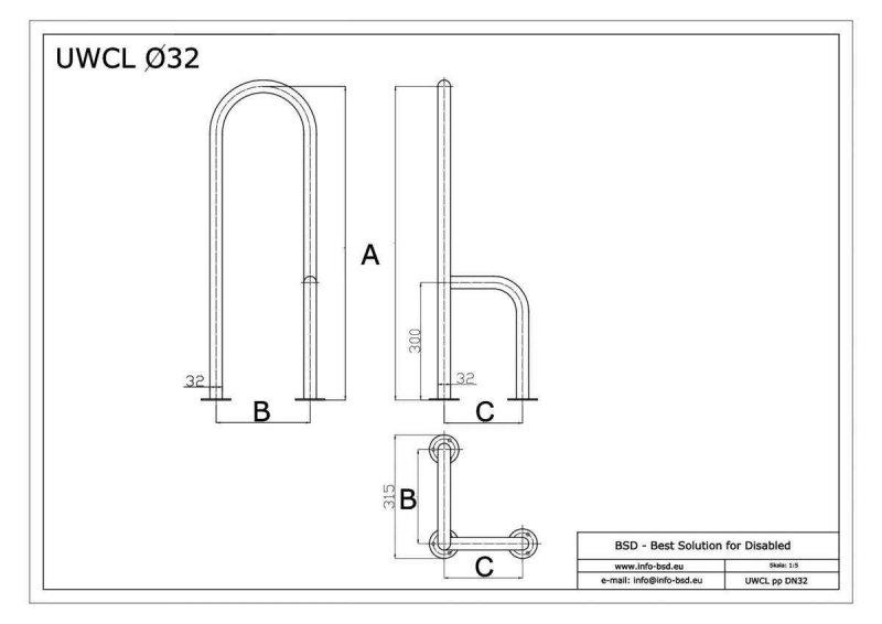 WC - Stützgriff für barrierefreies Bad zur Bodenmontage links 80 cm hoch weiß ⌀ 32 mm mit Abdeckrosetten