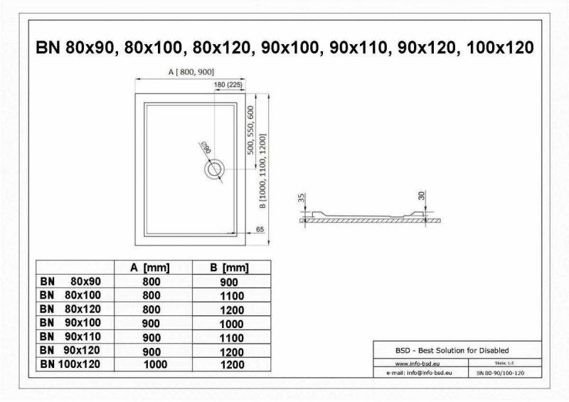 Duschwanne mit Abfluss seitig für barrierefreies Bad 110 x 90 cm
