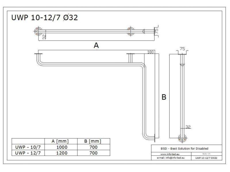 Winkelgriff waagerecht für barrierefreies Bad Stangenlänge 100/70cm aus rostfreiem Edelstahl ⌀ 32 mit Abdeckrosetten