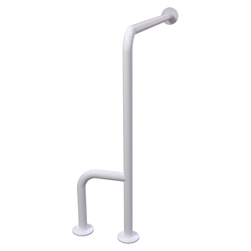 WC - Stützgriff für barrierefreies Bad rechts montierbar weiß 70 cm ⌀ 32 mm mit Abdeckrosetten