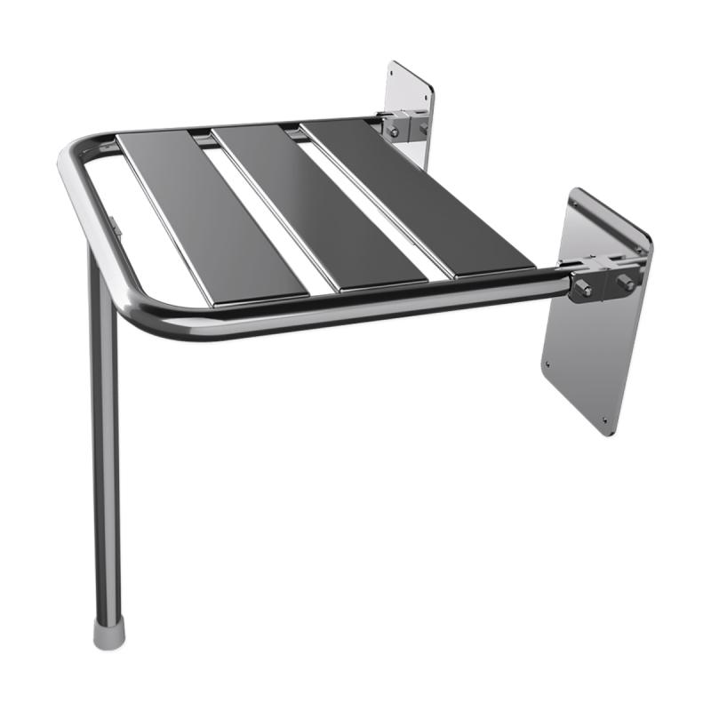 Duschklappsitz aus Edelstahl für barrierefreies Bad mit Stützbein