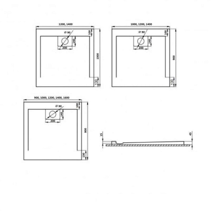 Schwarze Duschwanne für barrierefreies Bad 90 x 80 cm