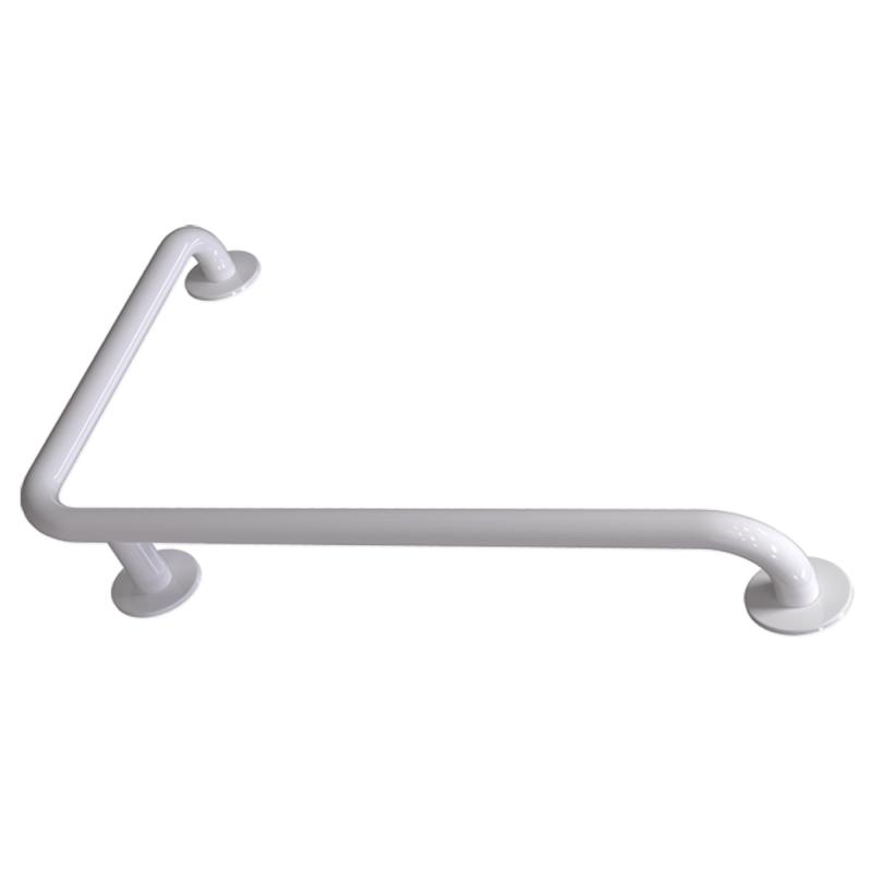 Winkelgriff 100/60 cm für barrierefreies Bad rechts montierbar weiß ⌀ 32 mm mit Abdeckrosetten