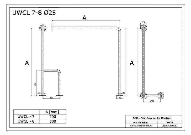 WC - Stützgriff für barrierefreies Bad links montierbar weiß 80 cm ⌀ 25 mm