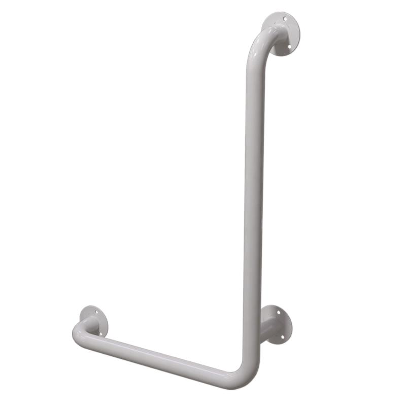 Winkelgriff 100/60 cm für barrierefreies Bad rechts montierbar weiß ⌀ 32 mm