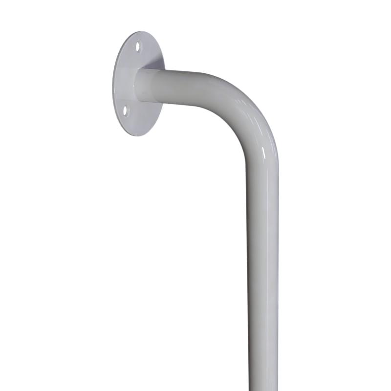 Winkelgriff 80/60 cm für barrierefreies Bad links montierbar weiß ⌀ 25 mm