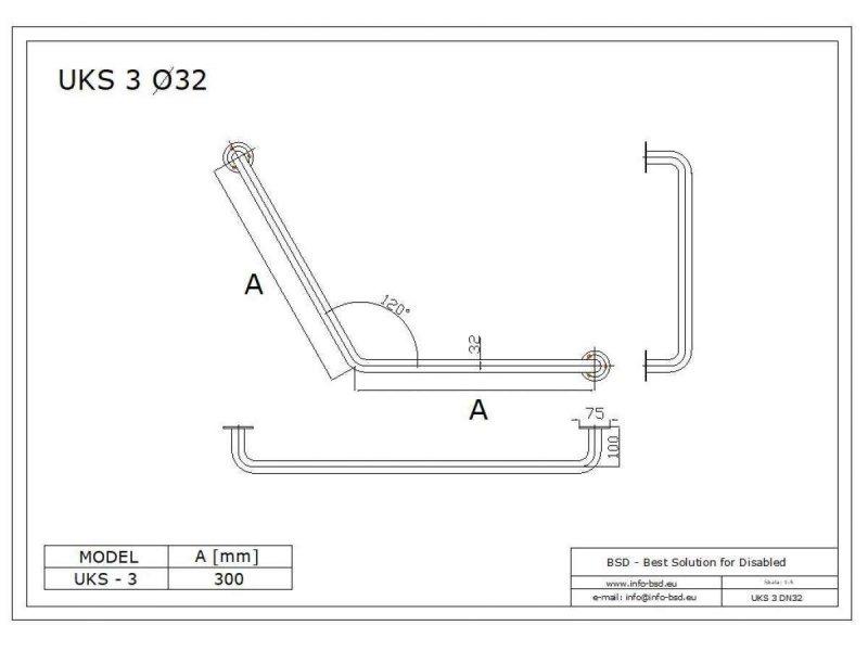 Stumpfwinkelgriff 30/30 cm für barrierefreies Bad weiß ⌀ 32 mm mit Abdeckrosetten