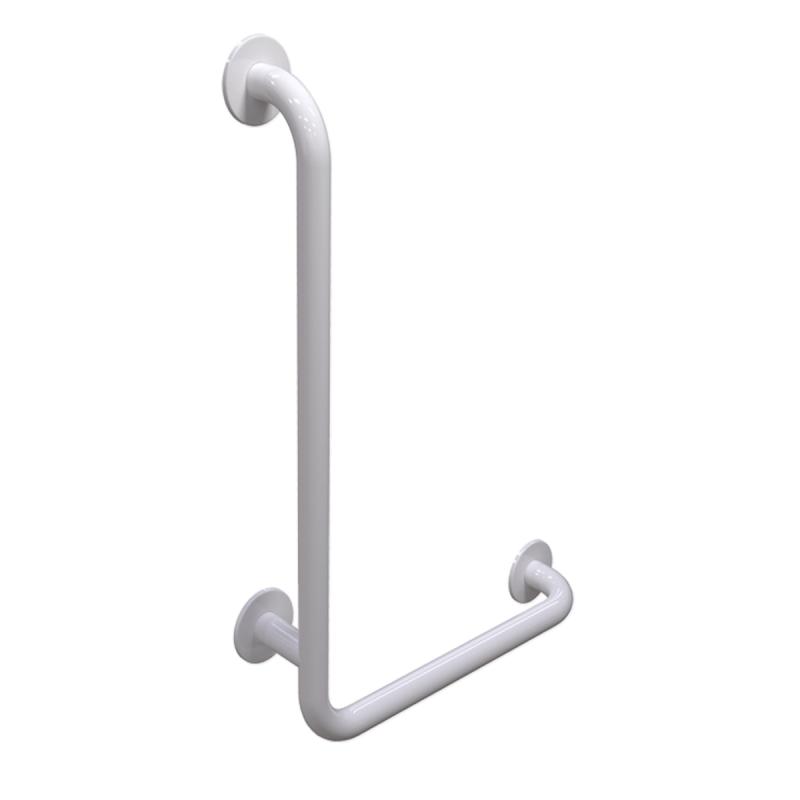 Winkelgriff 100/60 cm für barrierefreies Bad links montierbar weiß ⌀ 32 mm mit Abdeckrosetten