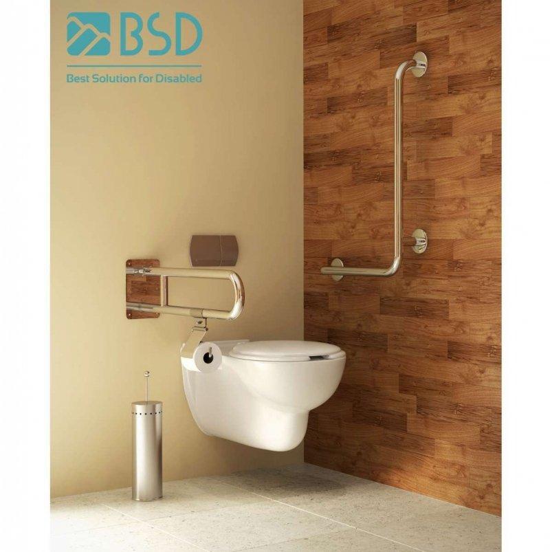 WC Klappgriff für barrierefreies Bad mit Stützbein 85 cm aus rostfreiem Edelstahl ⌀ 32 mit Abdeckplatten