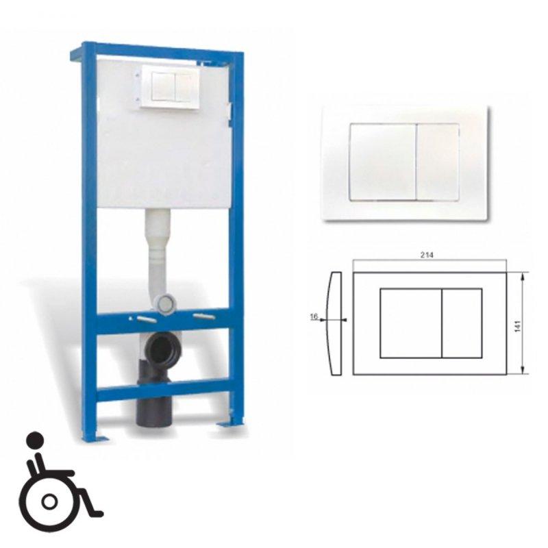 WC-Vorwandelement mit Unterputz-Spülkasten mit Betätigungstaste weiß