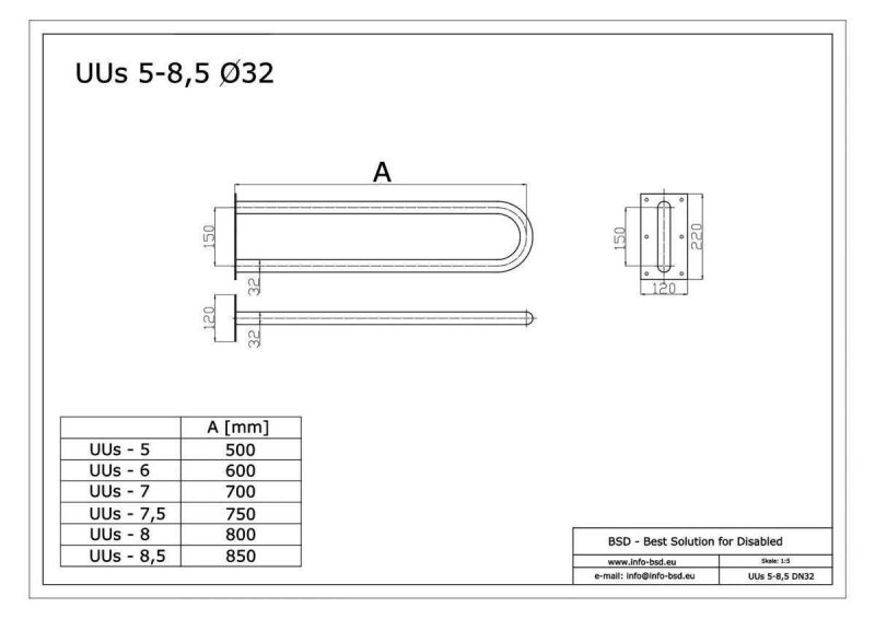 Stützgriff für barrierefreies Bad aus rostfreiem Edelstahl 85 cm ⌀ 32 mit Abdeckplatten