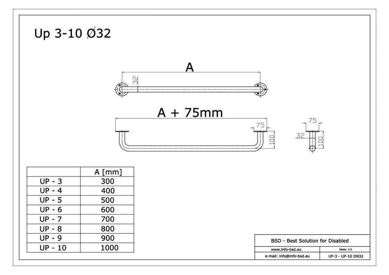 Haltegriff für barrierefreies Bad 80 cm aus rostfreiem Edelstahl ⌀ 32 mm mit Abdeckrosetten