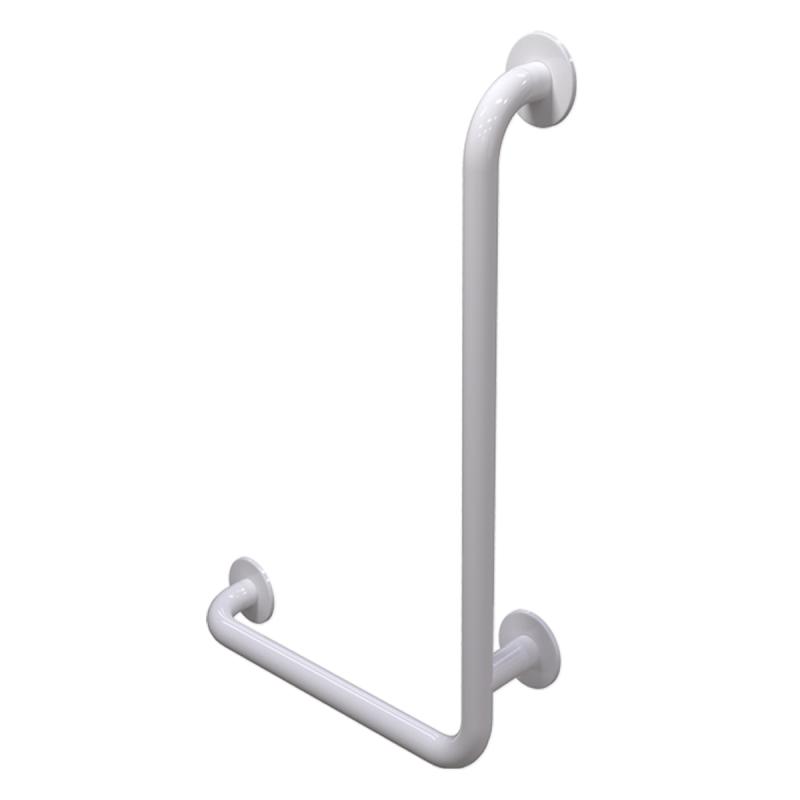 Winkelgriff 80/60 cm für barrierefreies Bad rechts montierbar weiß ⌀ 32 mm mit Abdeckrosetten