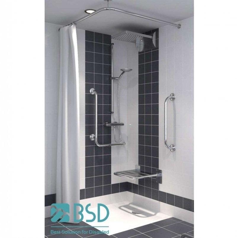 Deckenbefestigung für Duschvorhangstange aus Edelstahl 70 cm