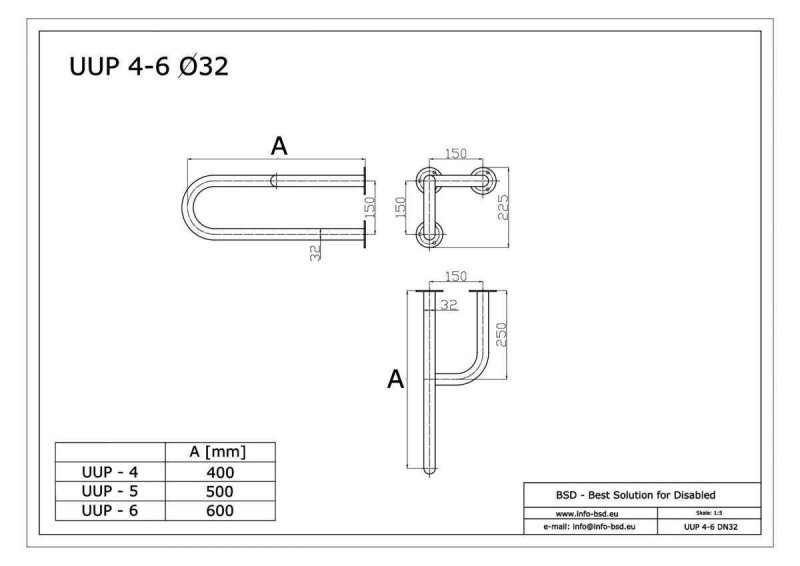 Stützgriff für barrierefreies Bad rechts montierbar aus rostfreiem Edelstahl 60 cm ⌀ 32 mm