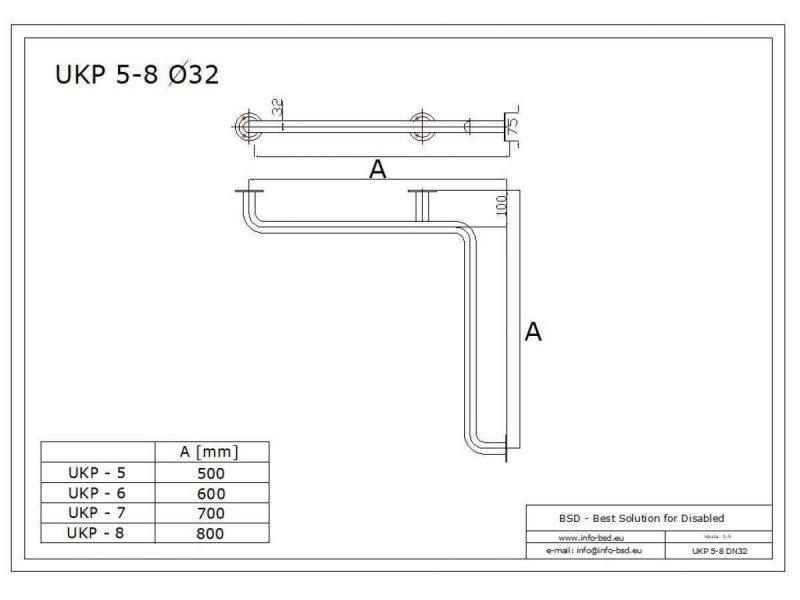Duschhandlauf Winkelgriff für barrierefreies Bad 50/50 cm weiß ⌀ 32 mm